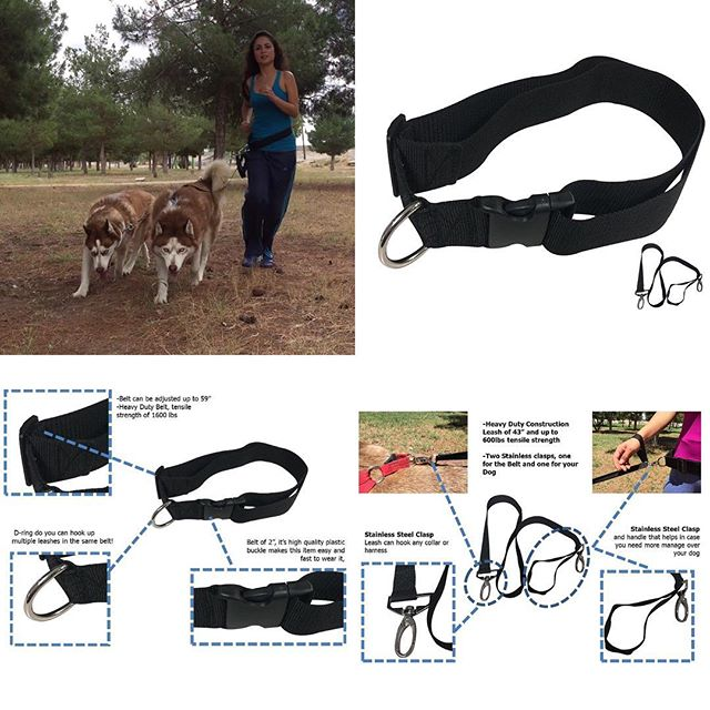 Hands free dog leash belt for Large Dog Attachment Running Walking Belt Black by KnK Dog Supplies